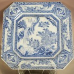 Early Chinese Blue on Grey Decorated Serving Tray