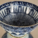 "Chinese Blue on Grey porcelain  7"" Rice Bowl"