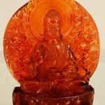 Early Chinese Cherry Amber Statue of Buddha