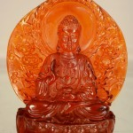 Chinese Cherry Amber Statue of Buddha