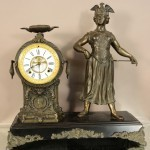 American Figural Waterbury Mantel Clock of Woman
