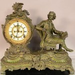 Ansonia figural French Louis Style Mantel Clock