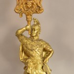 Gilbert Figural Mantel Clock with Spelter Statue