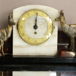 French Art Deco Three-Piece Marble Clock