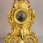 Early French Louis XV Style Fancy Bronze Mantel Clock
