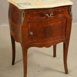 French Louis XV Style Walnut Marble Top Side Cabinet