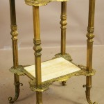 French Louis XIV Style Bronze & Onyx Two Tier Stand