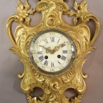 French Louis XIV Style Bronze Cartel Clock